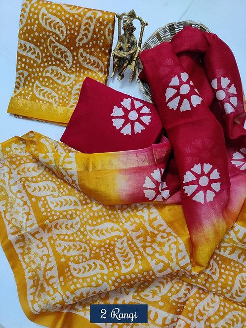2 Rangi Hand Block Printed Maheshwari Silk Suit with Zari Border