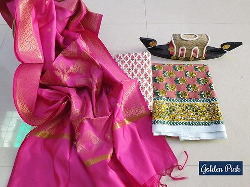 Golden Pink Hand Block Print  Cotton Suit With Exclusive Banarasi Dupatta