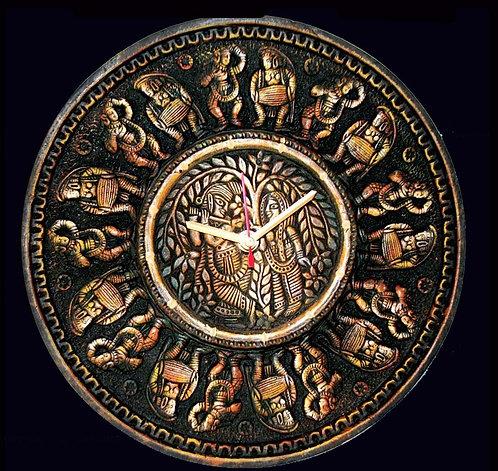 Terracotta 3D Dancing Tribal Wall Clock