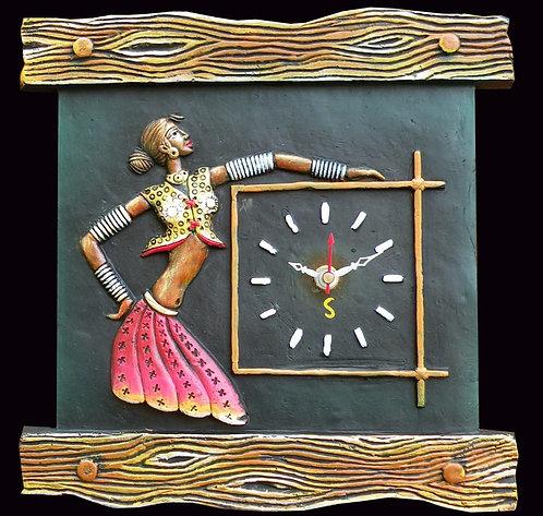 Terracotta 3D Lady Figure Wall Clock