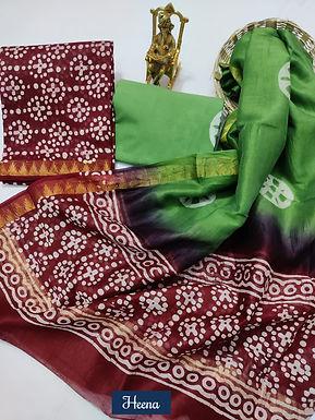 Heena Hand Block Printed Maheshwari Silk Suit with Zari Border