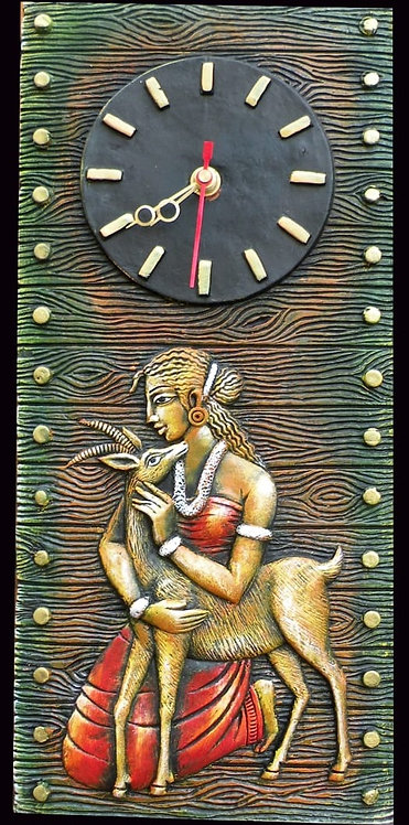 Terracotta 3D Lady With Deer Wall Clock