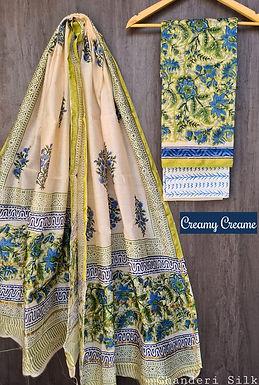 Creamy Creame Hand Block Printed Chanderi Silk Suit