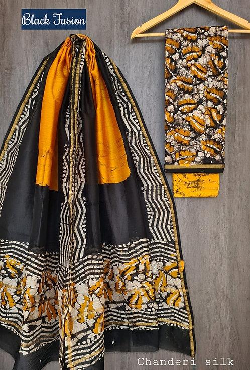 Black Fusion Hand Block Printed Chanderi Silk Suit