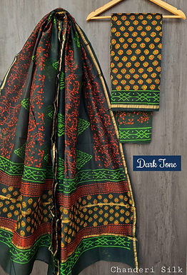 Dark Tone Hand Block Printed Chanderi Silk Suit