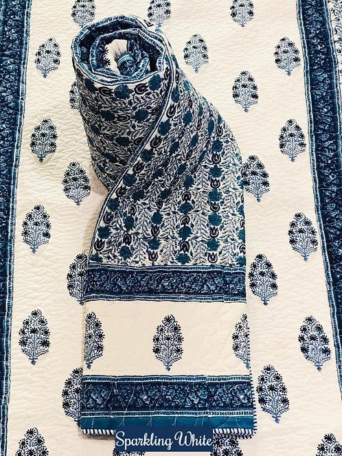 Sparkling White Hand-Block Print Cotton Reversible Single Bed Comforter