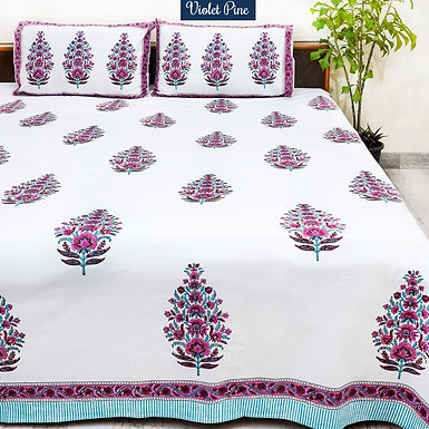 Violet Pine Hand Block Print Cotton Bed Sheet with 2 Pillow Cover