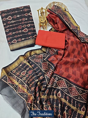 The Tradition Hand Block Printed Maheshwari Silk Suit with Zari Border