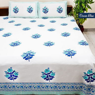 Ocean Blue Hand Block Print Cotton Bed Sheet with 2 Pillow Cover