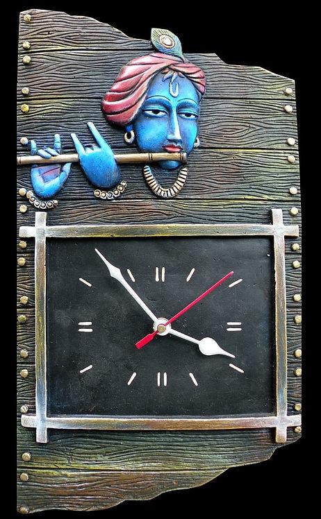 Terracotta 3D Krishna With Flute Wall Clock
