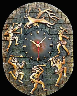 Terracotta 3D Jungle Hunting Wall Clock