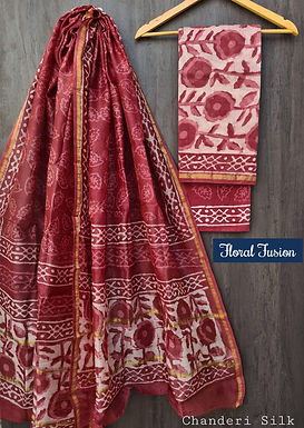Floral Fusion  Hand Block Printed Chanderi Silk Suit
