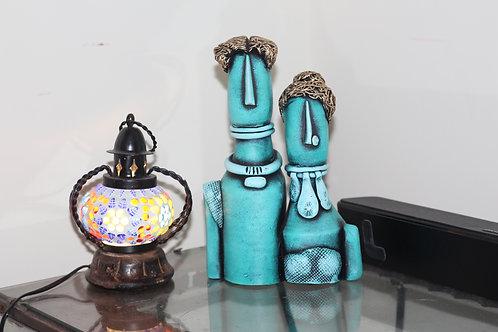 Mint-Blue Terracotta Couple Doll