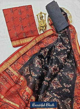 Beautiful Black Hand Block Printed Maheshwari Silk Suit with Zari Border