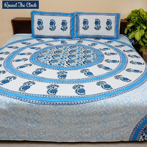 Round The Clock Hand Block Print Cotton Bed Sheet with 2 Pillow Cover