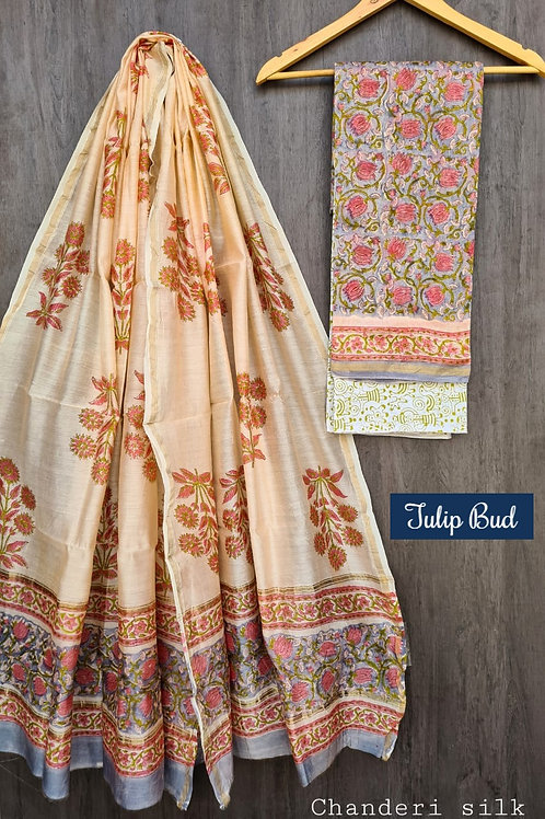 Tulip Bed Hand Block Printed Chanderi Silk Suit