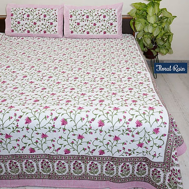 Floral Rain Hand Block Print Cotton Bed Sheet with 2 Pillow Cover