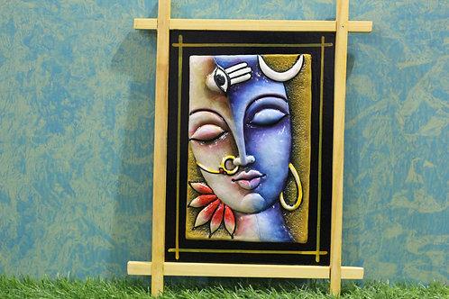 Terracotta 3D Shiva-Parvati Mural