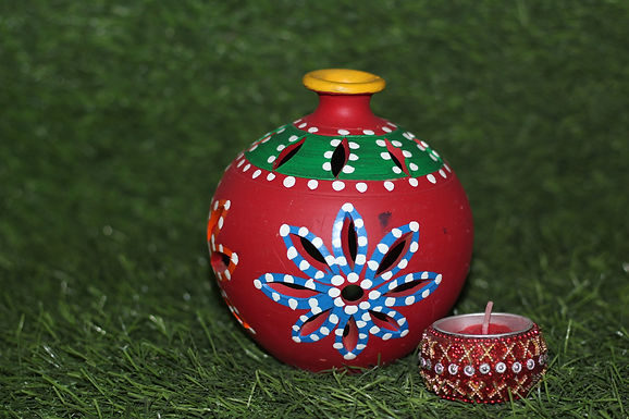Terracotta Matki Cut-Work Tea-Light Holder