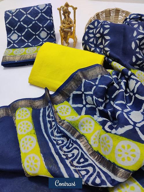 Contrast Hand Block Printed Maheshwari Silk Suit with Zari Border