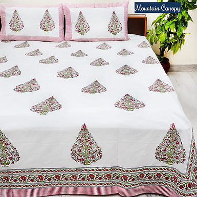 Mountain Canopy Hand Block Print Cotton Bed Sheet with 2 Pillow Cover