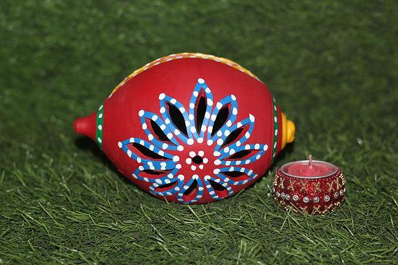 Terracotta Shankh Cut-Work Tea-Light Holder