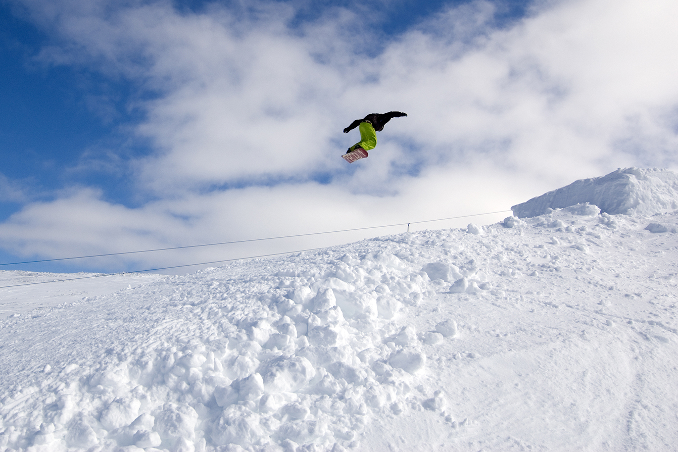 Snow Boarder Rotating Mid Air