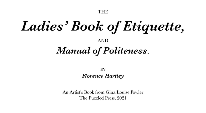 The Ladies' Book of Etiquette (forthcoming)