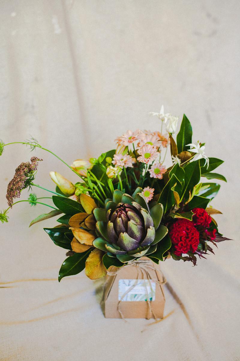 Posy ingredients: Artichoke flower; Little Gem; Queen Anne's Lace; Chrissy; Flannel flower; Alstroemeria; Celosia.