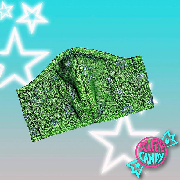 UV Green Sequin Glitter Star Mesh Non-Medical Cloth Face Mask