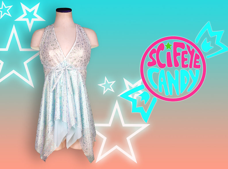 Iridescent Metallic Splatter Mesh Dress by SciFeyeCandy