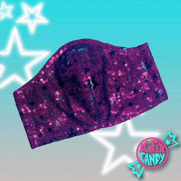 Pink Sequin Candy Star Mesh Non-Medical Cloth Face Mask
