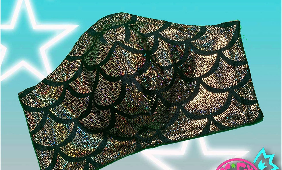 Black and Holographic Gold Mermaid Non-Medical Cloth Mask