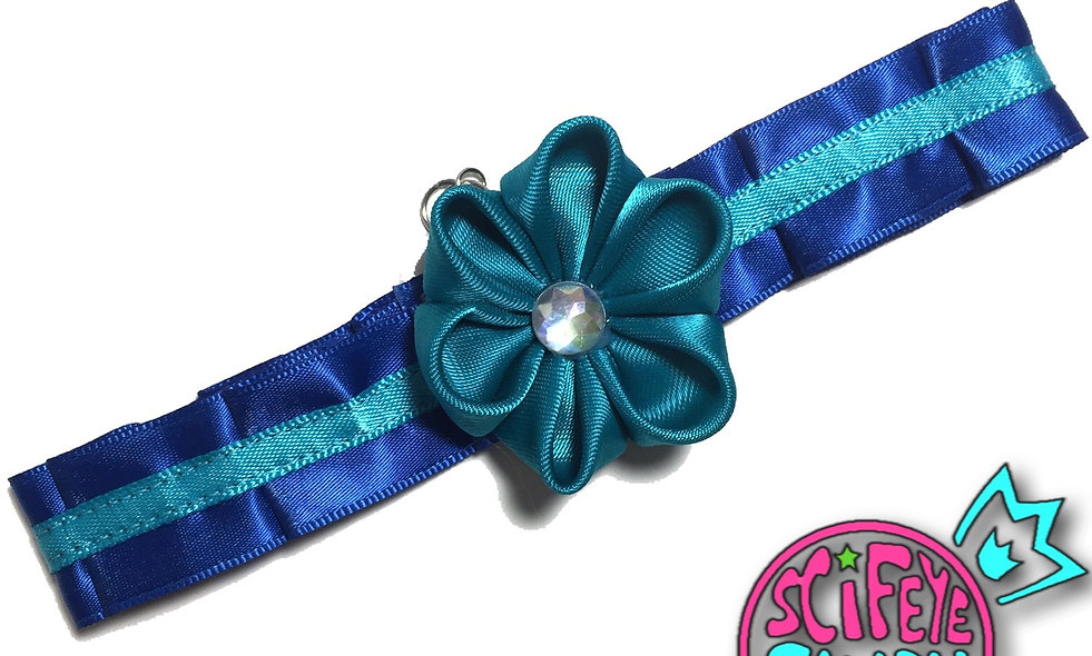 Royal Blue and Turquoise Kanzashi Flower Day-Collar by SciFeyeCandy