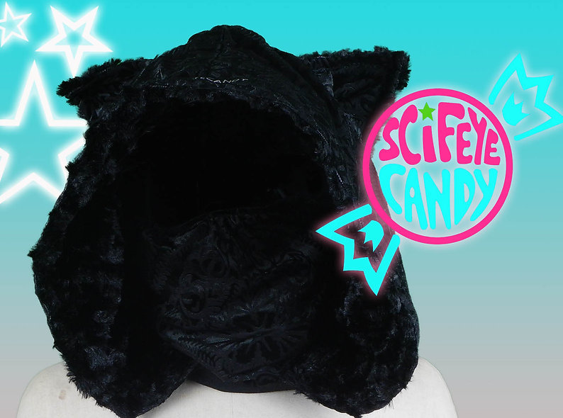 Burned Black Velvet Kitty Hood Scarf by SciFeyeCandy