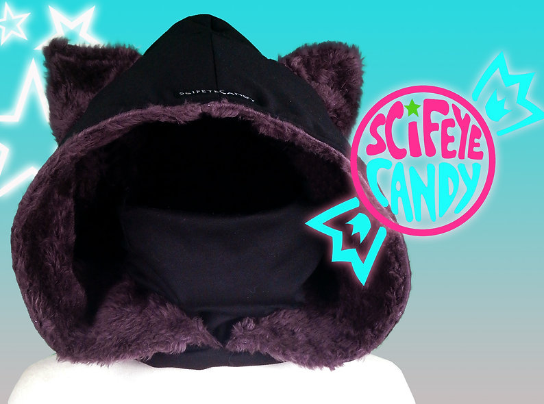 Black and Purple Faux Fur Kitty Hood Scarf by SciFeyeCandy