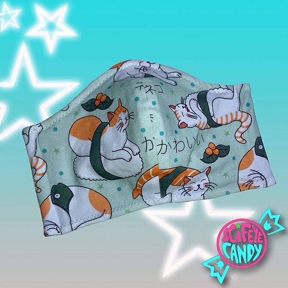 Mint Sushi Kitty Non-Medical Cloth Dust Mask
