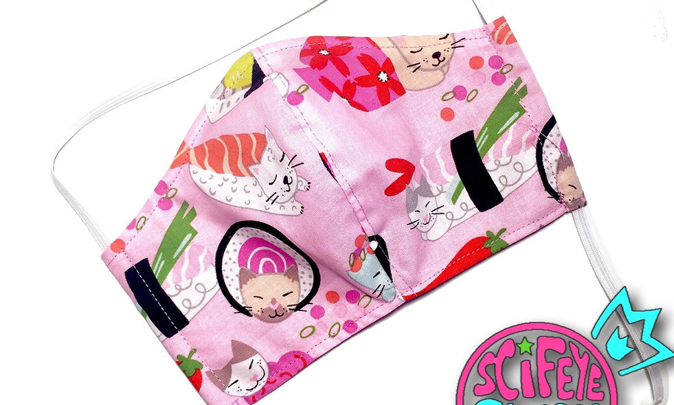 Pink Sushi Kitty Dust Mask