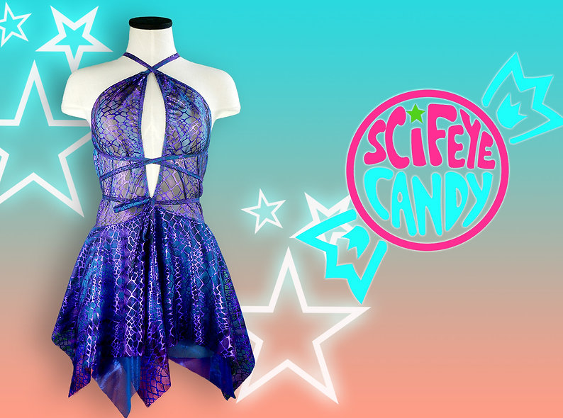 Purple and Blue Metallic Animal Mesh Dress by SciFeyeCandy