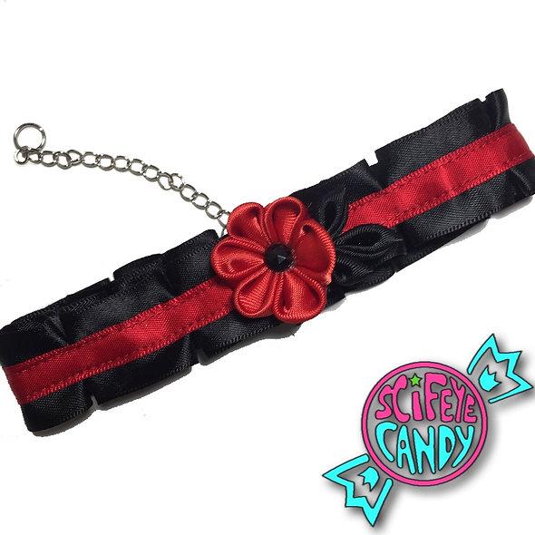 Black and Red Kanzashi Flower Choker by SciFeyeCandy