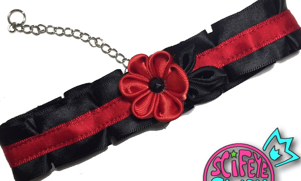 Black and Red Kanzashi Flower Choker by SciFeyeCandy