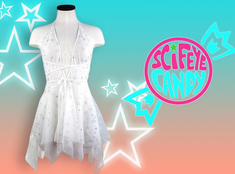 White Glitter Star Mesh Dress by SciFeyeCandy