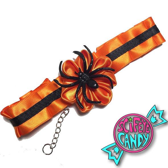 Black and Orange Halloween Pumpkin Day-Collar by SciFeyeCandy