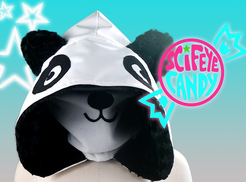 Panda Hood Scarf by SciFeyeCandy