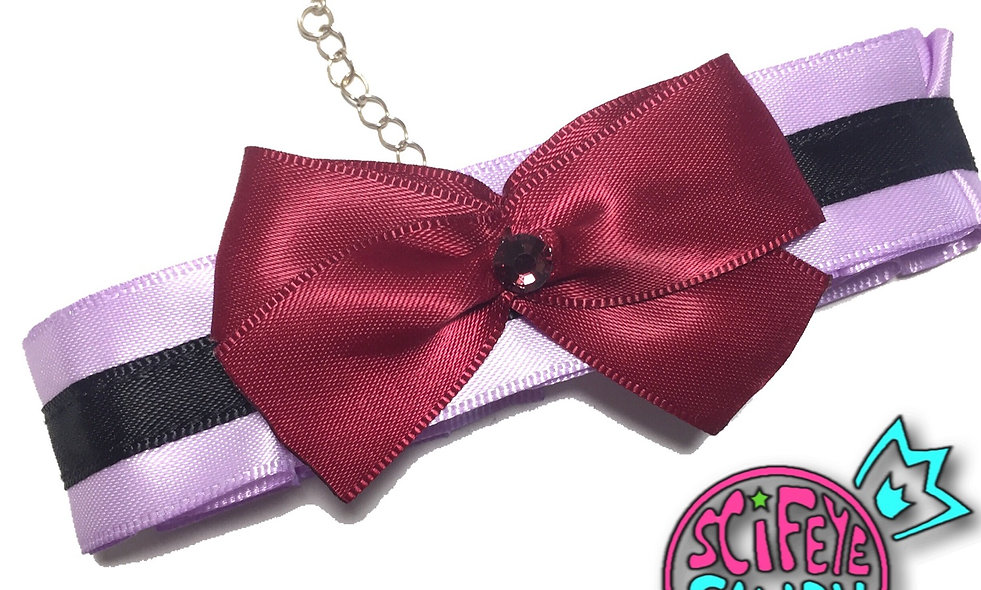 Lilac Purple and Black Day-Collar by SciFeyeCandy