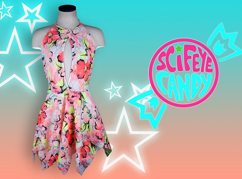 Neon Floral Splatter High-Neck Key-Hole Dress by SciFeyeCandy