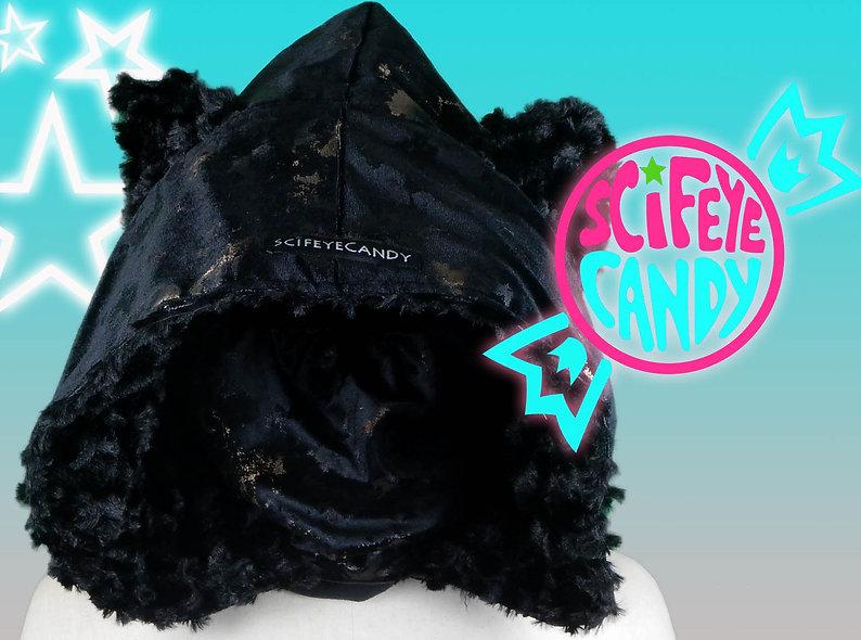 Tortoise Shell Velvet Kitty Hood Scarf by SciFeyeCandy