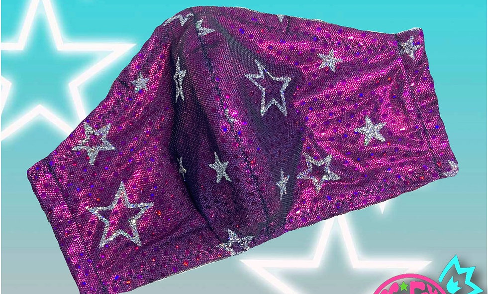 Holo-Pink Glitter Star Mesh Non-Medical Cloth Face Mask