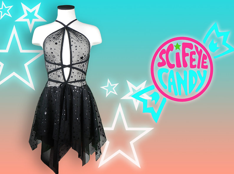 Black Dark Star Mesh Dress by SciFeyeCandy