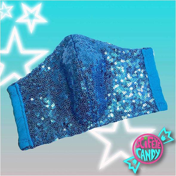 Ice Blue Sequin Mesh Non-Medical Cloth Face Mask